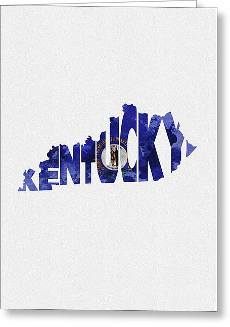 Kentucky Typographic Map Flag Greeting Card