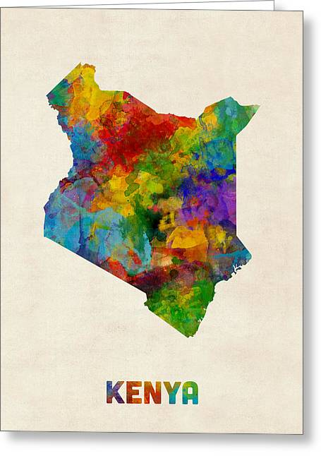 Kenya Watercolor Map Greeting Card by Michael Tompsett