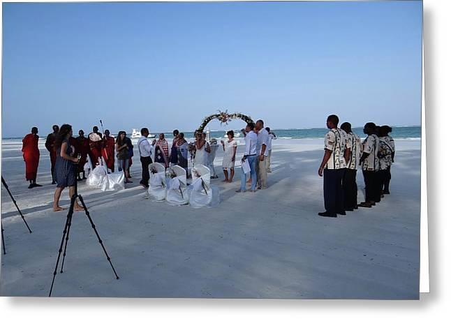 Kenya Wedding On Beach 2 With Maasai Greeting Card