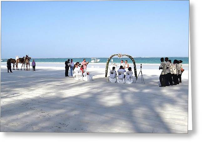 Kenya Wedding On Beach Wide Scene Greeting Card by Exploramum Exploramum
