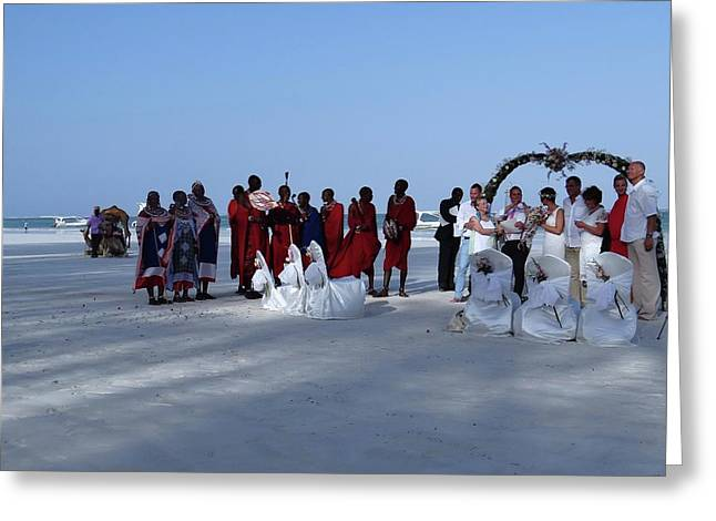 Kenya Wedding On Beach With Maasai Greeting Card