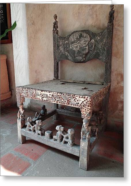 Kenyan African Antique Carved Chair Greeting Card by Exploramum Exploramum