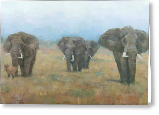 Ochre Greeting Cards - Kenyan Elephants Greeting Card by Steve Mitchell
