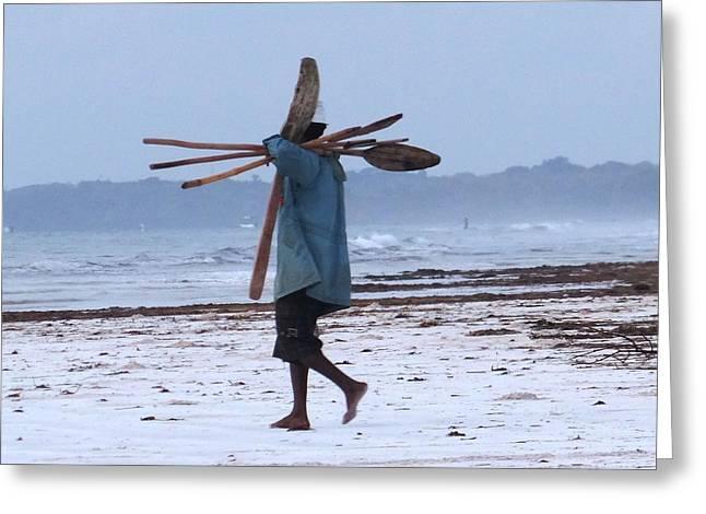 Kenyan Fisherman And Oars Greeting Card