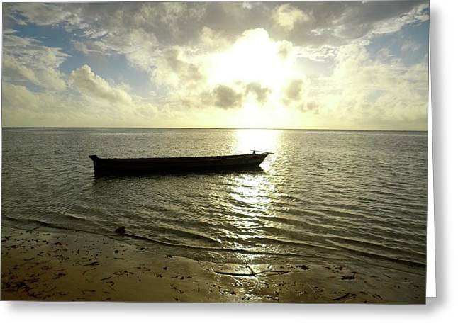 Kenyan Wooden Dhow At Sunrise Greeting Card