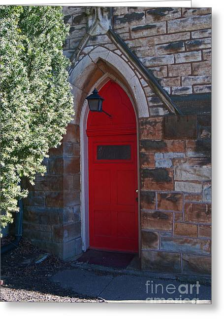 Red Church Door Greeting Card