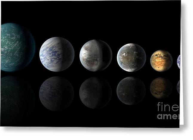 Kepler Exoplanets Similar To Earth Greeting Card by Science Source