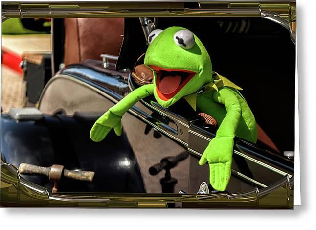 Kermit In Model T Greeting Card