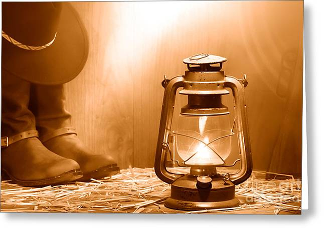 Kerosene Lamp At The Ranch - Sepia Greeting Card by Olivier Le Queinec