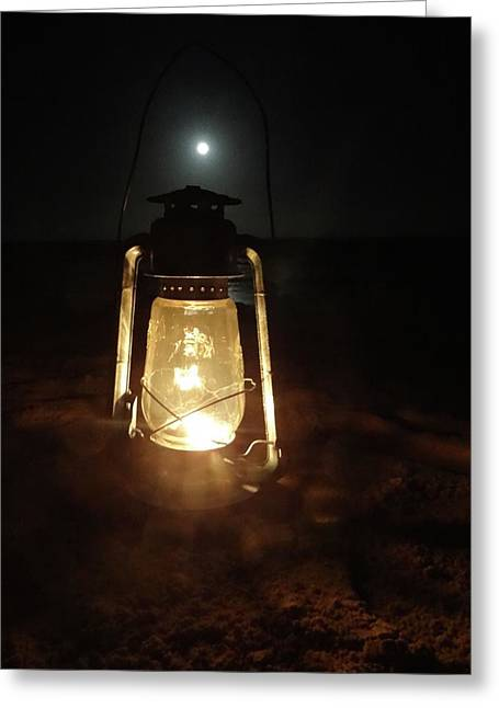 Kerosine Lantern In The Moonlight Greeting Card