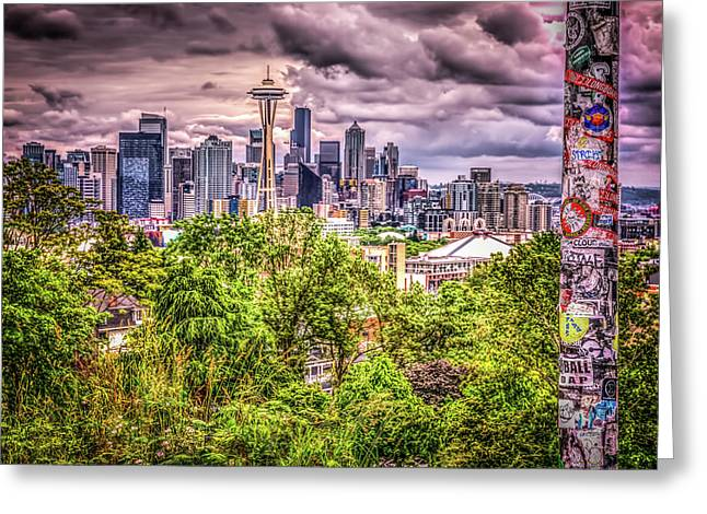 Kerry Park Grunge Greeting Card by Spencer McDonald
