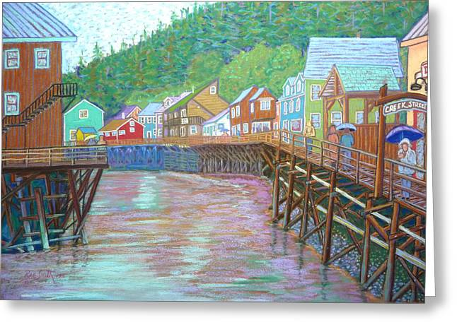 Salmon Pastels Greeting Cards - Ketchican Alaska Greeting Card by Rae  Smith PSC