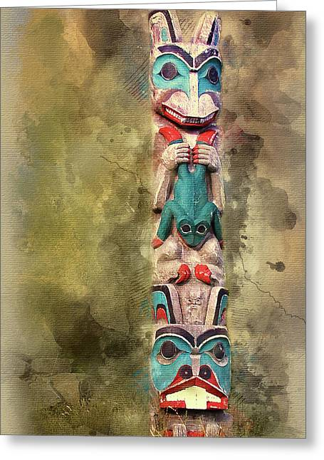 Ketchikan Alaska Totem Pole Greeting Card by Bellesouth Studio