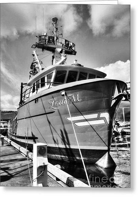 Ketchikan Fishing Boats 2 Bw Greeting Card by Mel Steinhauer