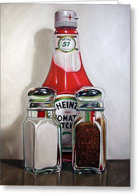 Ketchup And Salt And Pepper Shaker Greeting Card by Vic Vicini