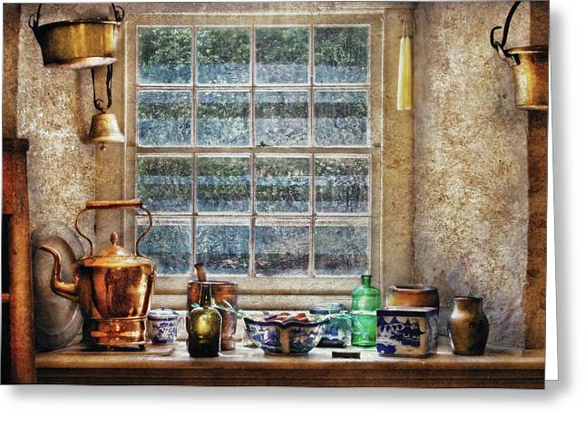 Grandmas Kitchen Greeting Cards - Kettle - Bubbes Kitchen Greeting Card by Mike Savad