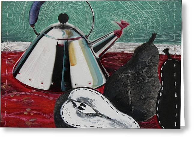 Table Cloth Mixed Media Greeting Cards - Kettle and Pears Greeting Card by Peter Allan