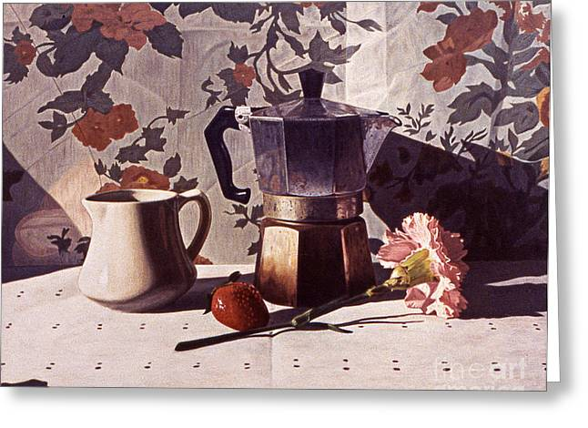 Kettle And Pink Carnation Greeting Card by Daniel Montoya