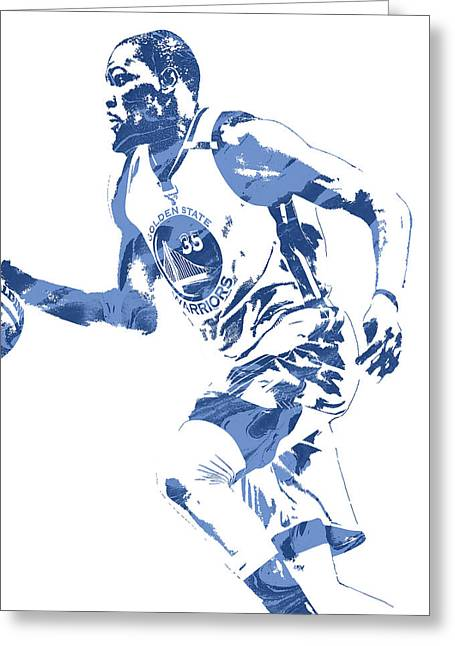 Kevin Durant Golden State Warriors Pixel Art 4 Greeting Card by Joe Hamilton