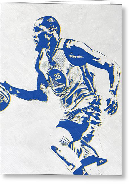 Kevin Durant Golden State Warriors Pixel Art Greeting Card by Joe Hamilton