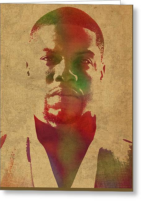 Kevin Hart Comedian Watercolor Portrait Greeting Card