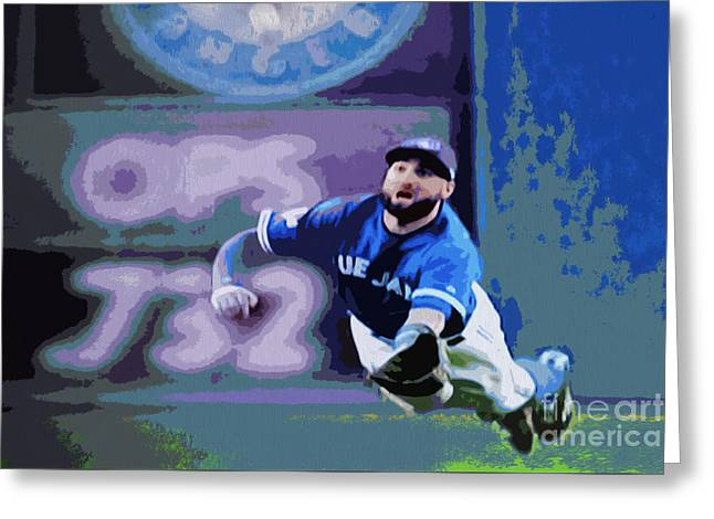 Kevin Pillar In Action Greeting Card by Nina Silver