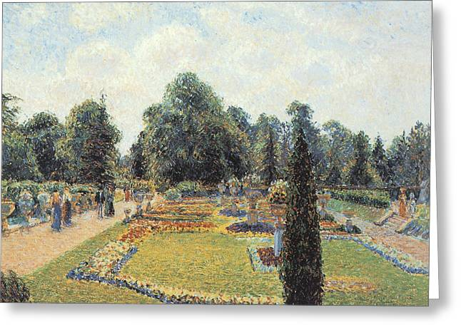 Kew Gardens The Path To The Great Conservatory Greeting Card by Camille Pissarro