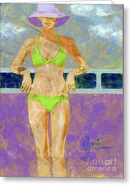 Key Lime Bikini Greeting Card by P J Lewis
