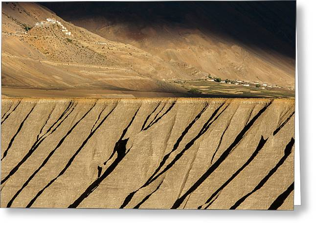 Greeting Card featuring the photograph Key Monastery And Spiti Valley, Spiti, 2008 by Hitendra SINKAR