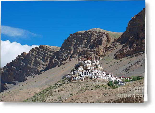 Greeting Card featuring the photograph Key Monastery by Yew Kwang