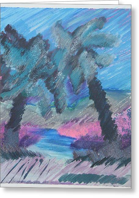 Silver Grass Mixed Media Greeting Cards - Key Palms Greeting Card by Judy Loper