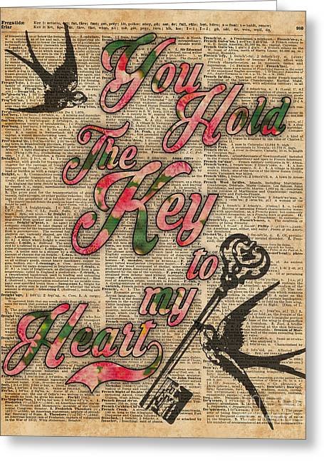 Key To My Heart Dictionary Art Greeting Card by Jacob Kuch