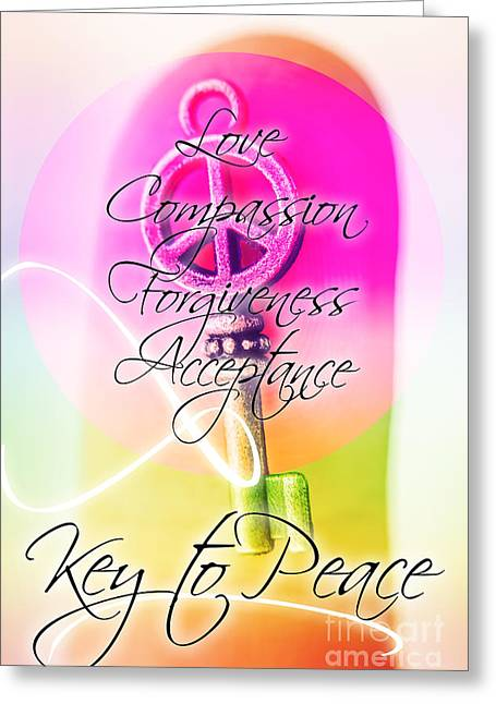 Key To Peace. Life Motivation Quote Greeting Card by Jorgo Photography - Wall Art Gallery