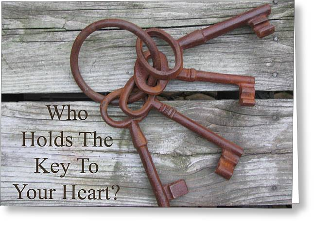 Key To Your Heart Greeting Card by DeAnna Hutson