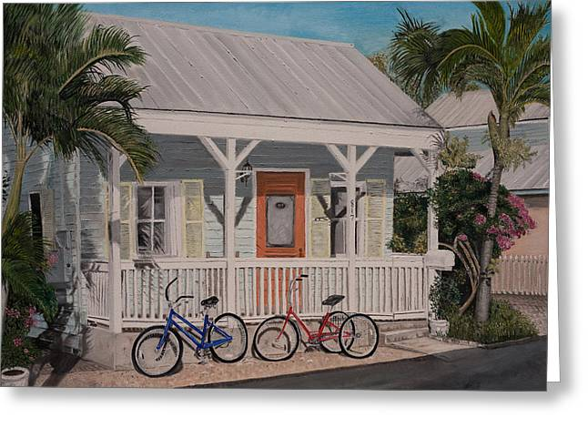 Tin Roof Paintings Greeting Cards - Key West Bicycles Greeting Card by John Schuller