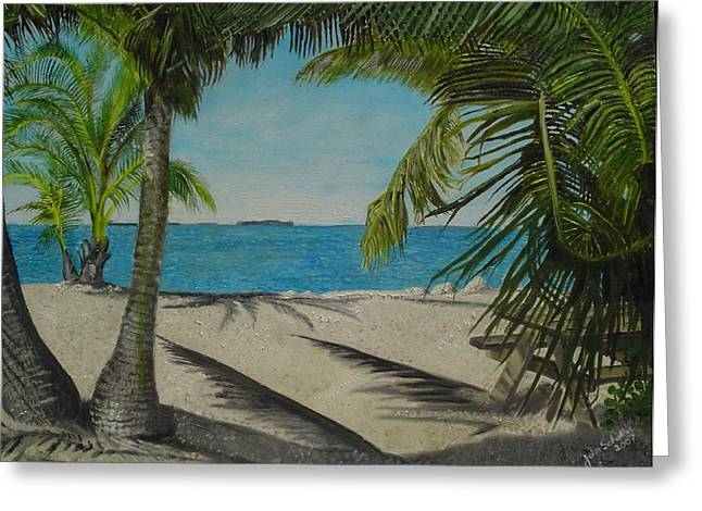 Park Scene Paintings Greeting Cards - Key West Clearing Greeting Card by John Schuller