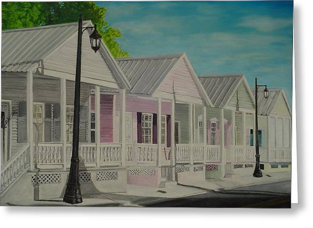 Key West Cottages Greeting Card by John Schuller