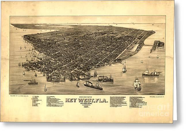 Key West Florida Vintage Map 1884 Greeting Card by John Stephens