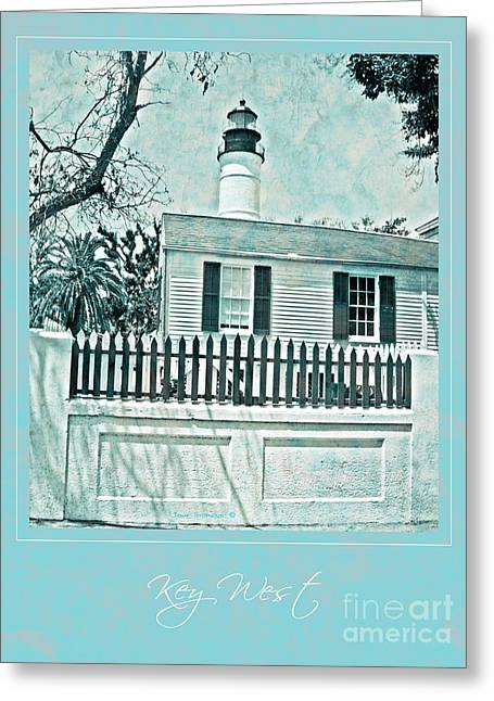 Key West Lighthouse Impression With Border Greeting Card