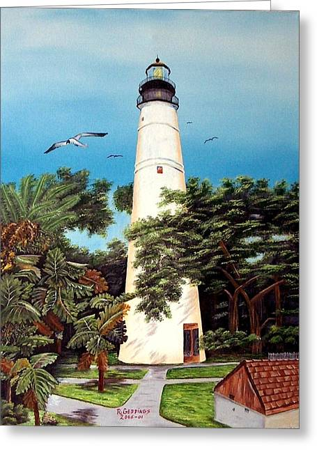 Key West Lighthouse Greeting Card by Riley Geddings