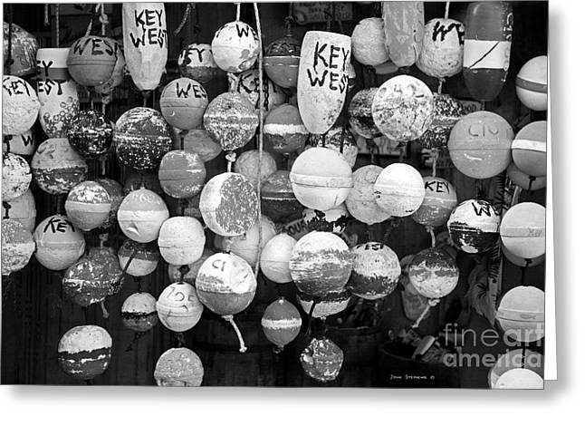 Key West Lobster Buoys Black And White Greeting Card