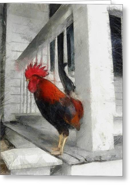 Key West Porch Rooster Greeting Card by Michelle Calkins