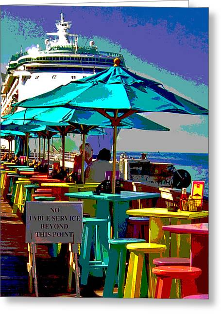 Boats At Dock Greeting Cards - Key West Poster Greeting Card by Eugene Ramella