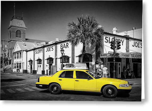 Key West Sloppy Joe's Bar And Taxi Greeting Card