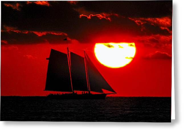 Key West Sunset Sail Silhouette Greeting Card by Bob Slitzan