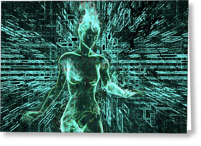 Keyed To The Matrix Greeting Card by Damon Steele