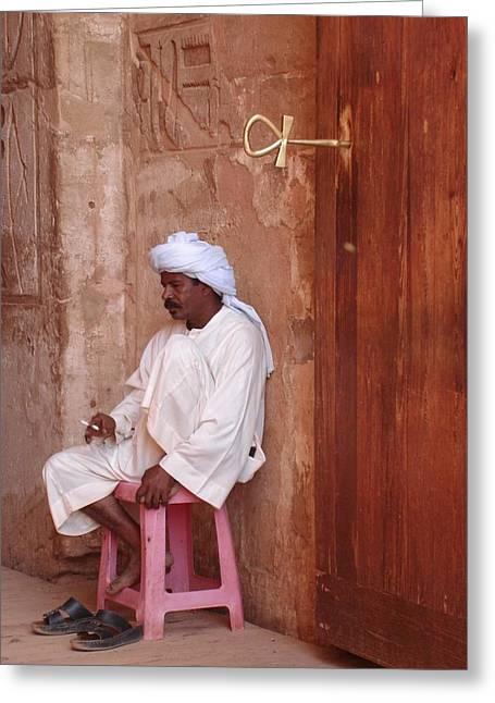 Hathor Greeting Cards - Keymaster of Abu Simbel Greeting Card by Richard Deurer