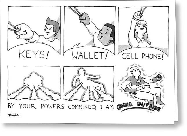 Keys Wallet Cell Phone Greeting Card