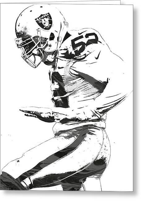 Khalil Mack Oakland Raiders Pixel Art 2 Greeting Card