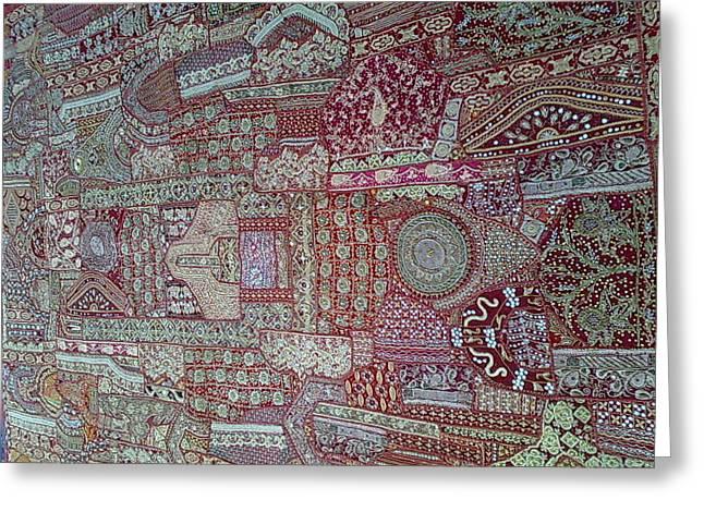 Patchwork Tapestries - Textiles Greeting Cards - Khambhariya Zari Bed Cover Greeting Card by Dinesh Rathi